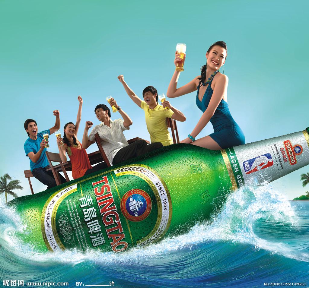 青岛啤酒标识以突出英文名称为主,实现了国内,国际品牌形象的统一.