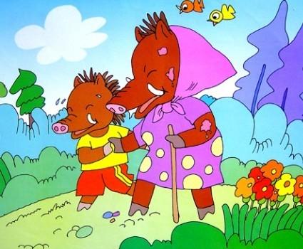 河马大夫说小野猪的疮是会传染的,野猪妈妈还是让小野猪趴在它的背上