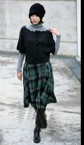 冬季时尚黑色针织衫的流行搭配