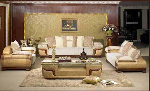 皮布结合沙发;按款式可分为:休闲布艺沙发和欧式布艺