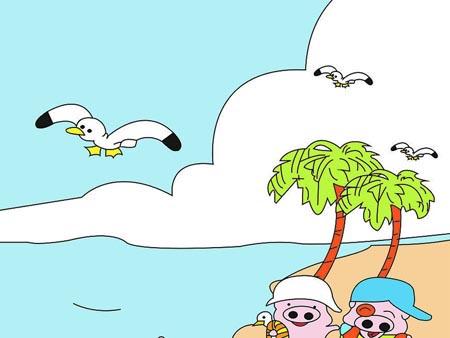 海鸥卡通矢量图