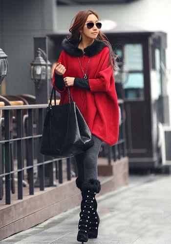 明星红毛衣搭配